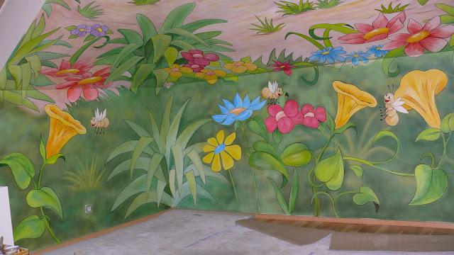 artystyczne usługi malarskie, aranżacja pokoju dziewczęcego, pokój w kwiatki