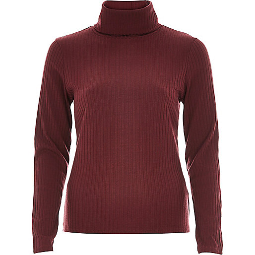 river island roll neck top, burgundy roll neck top,