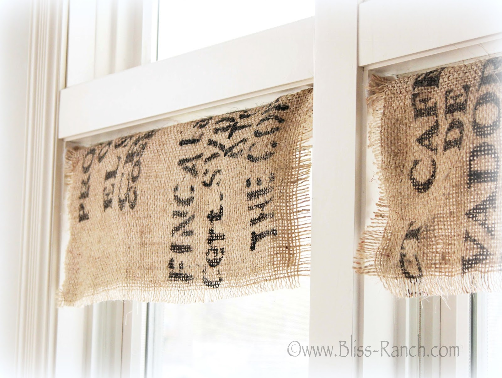 Burlap Coffee Sack Valances Bliss-Ranch.com