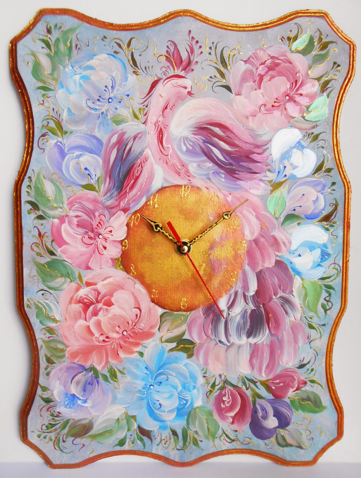 Wall clock with Bird Peacock in russian style Volkhovskaya, handmade in style vintage