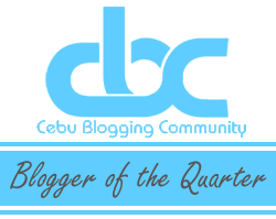 Cebu Blogging Community's Blogger of the Quarter