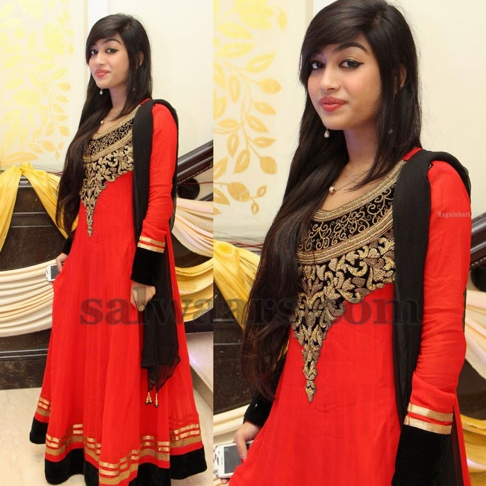 Aari Work Red Long Salwar