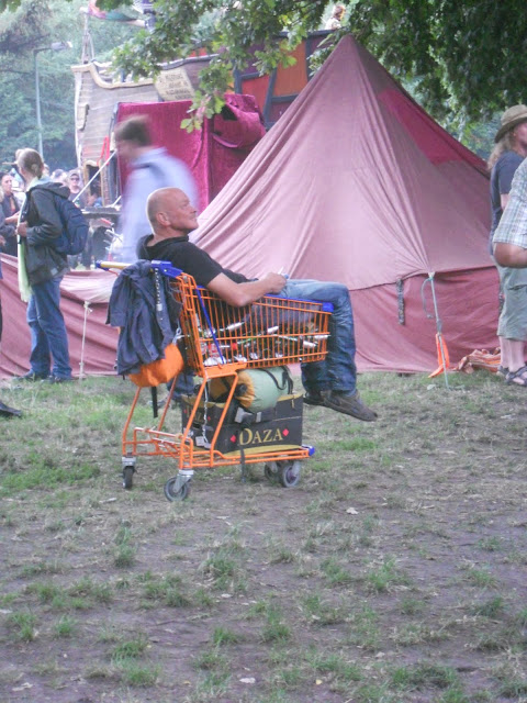 man in shopping cart