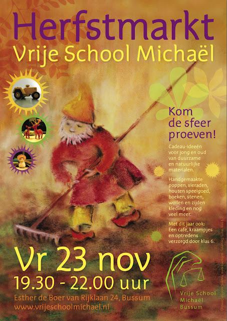 Poster voor de Herfstmarkt van Vrije School Michael te Bussum