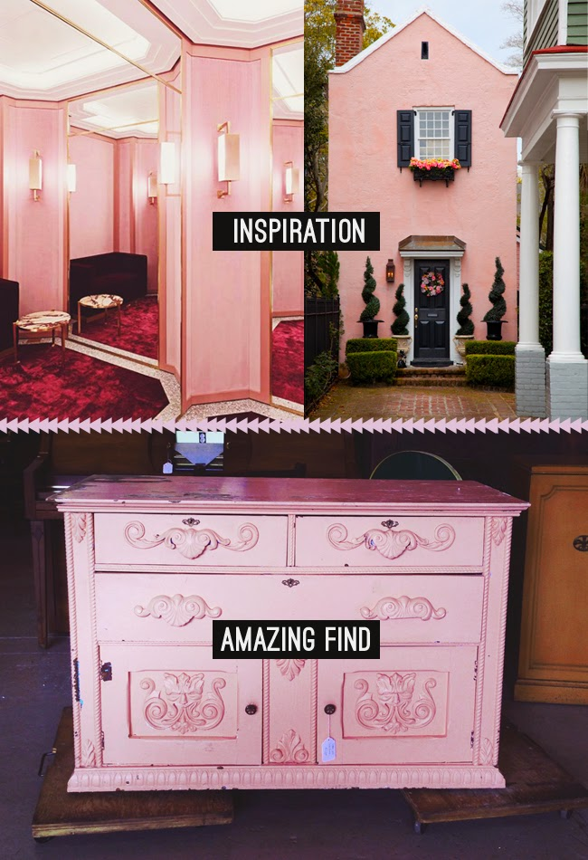 vintage pastel pink interior and exterior design