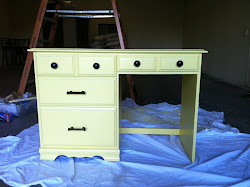 Canary Yellow Shabby Chic Desk with Black Hardware **SOLD**