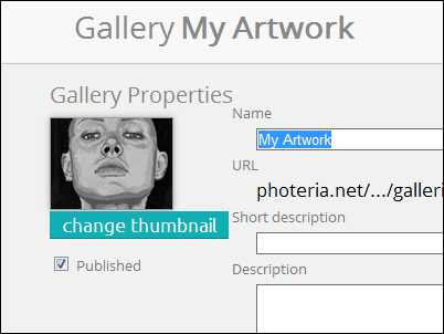 "Gallery Properties area with ""change thumbnails"" button visible"