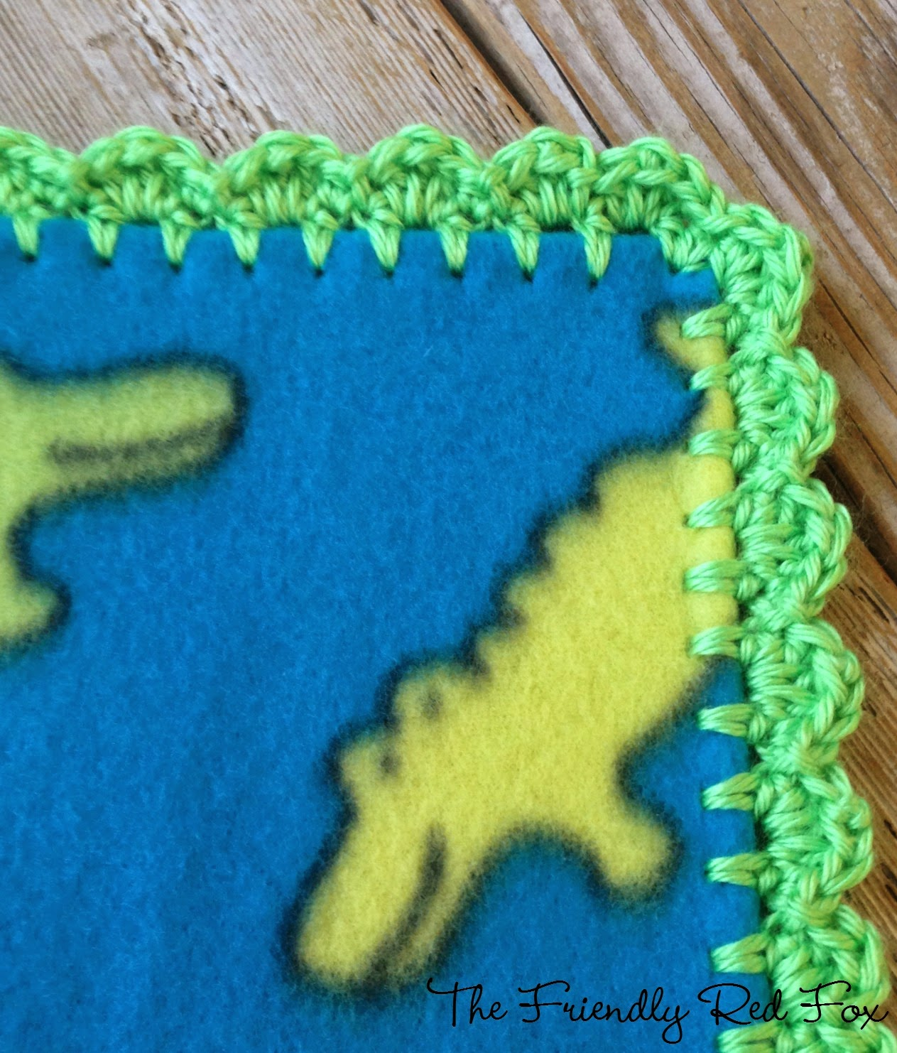 Crochet Baby Blanket Edging Tutorial : Crochet Edge on Fleece Blanket Tutorial - The Friendly Red Fox