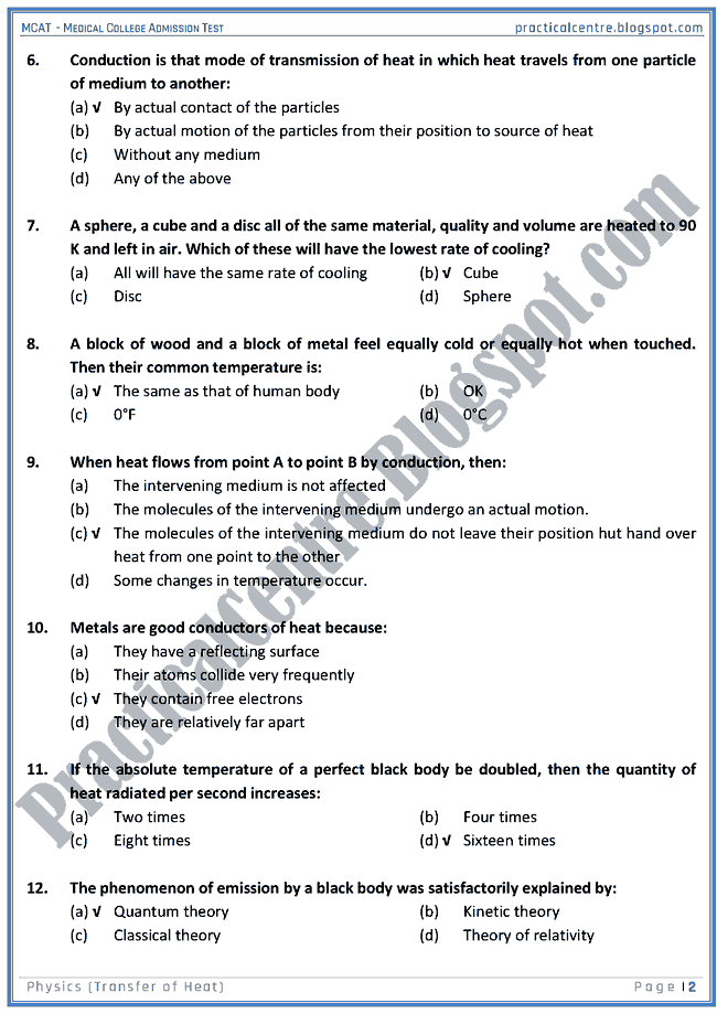mcat-physics-transfer-of-heat-mcqs-for-medical-college-admission-test