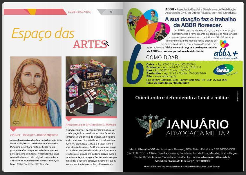 Ganhei uma publicação no Espaço das Artes - Informativo de Maio do Clube Militar RJ 2015