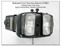 Horizontal Flash Mounting Bracket (HFMB Dbl Wide), Rigid Umbrella Riser, Spigot Mounting (with 2 Canon 580EX Flash Units)