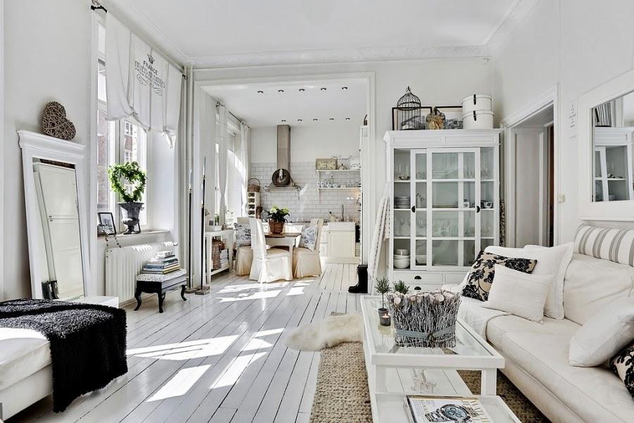 białe wnętrze, styl skandynawski, wiklinowy koszyk, ratanowy koszyk, salon, stolik, kuchnia, stół, białawitryna