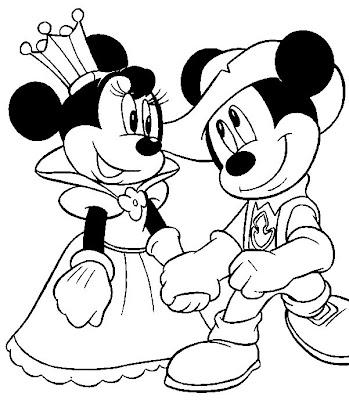 Desenho da Minnie e do Mickey para colorir