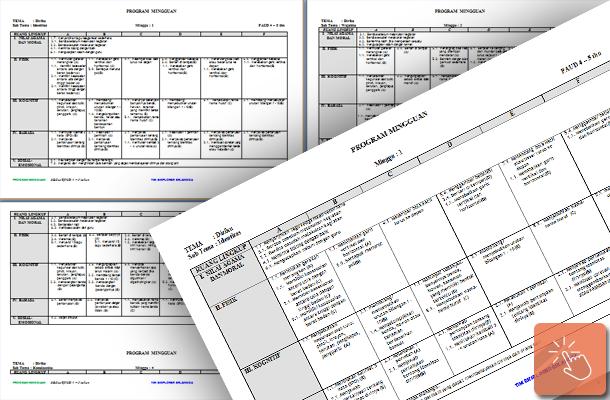 Program Mingguan dan Silabus PAUD Kelompok Usia 4 - 5 Tahun