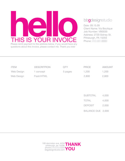 hannah rose pr: how to get paid: invoicing practices for freelancers, Invoice templates
