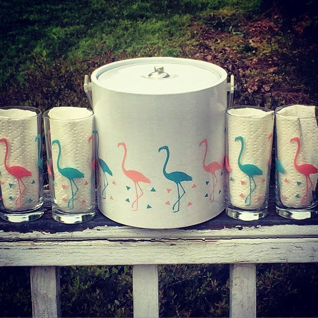#thriftscorethursday Week 62 | Instagram user: thisbellerocks shows off this Flamingo Ice Bucket and Tumblers