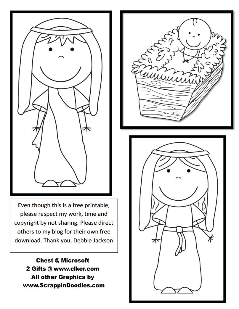 Jesús en el pesebre, actividades para recortar, colorear y colocar un