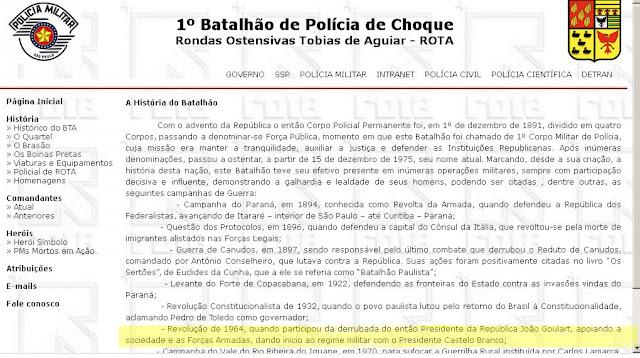 PM de São paulo do PSDB elogiando Golpe Militar de 1964