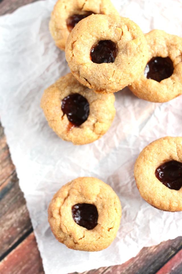 PB&J Thumbprint Cookies - Peanut Butter and Jelly Thumbprint Cookies
