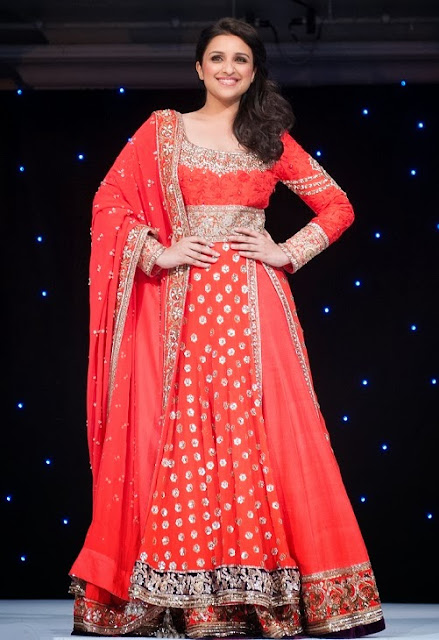 Parineeti Chopra Dipped in Pure Red Anarkali Lehenga Choli