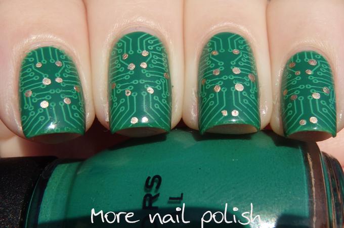 Circuit board nail art ~ More Nail Polish