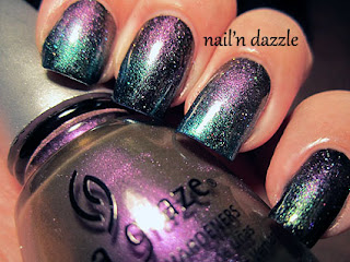 no plain jane, deviantly daring, chrome, china glaze, gradient, purple, green,