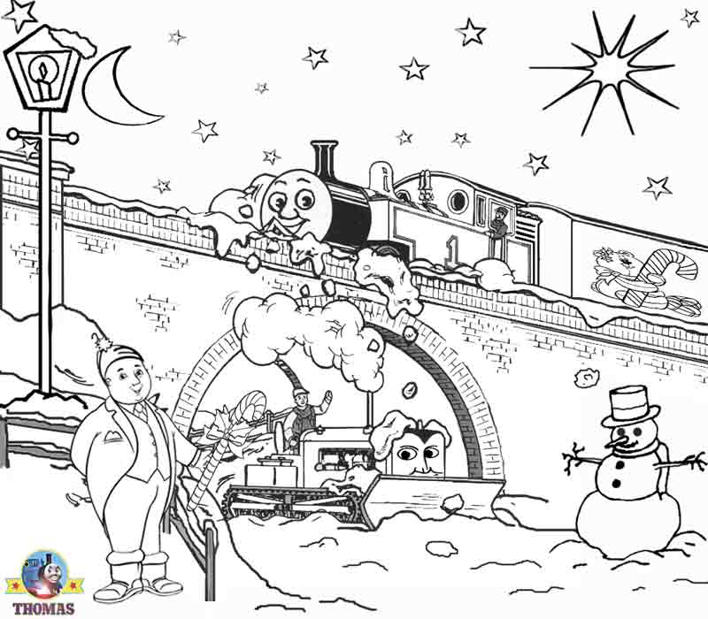 Free Christmas coloring pages for kids printable Thomas the train  title=