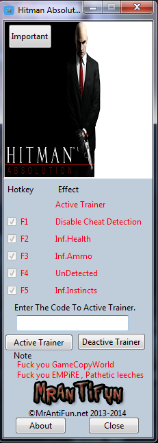 Hitman Absolution V1.0.447.0 Trainer +4 MrAntiFun