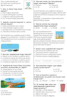 Sınıf fen ve teknoloji dersi 1 dönem 2 yazılı 1