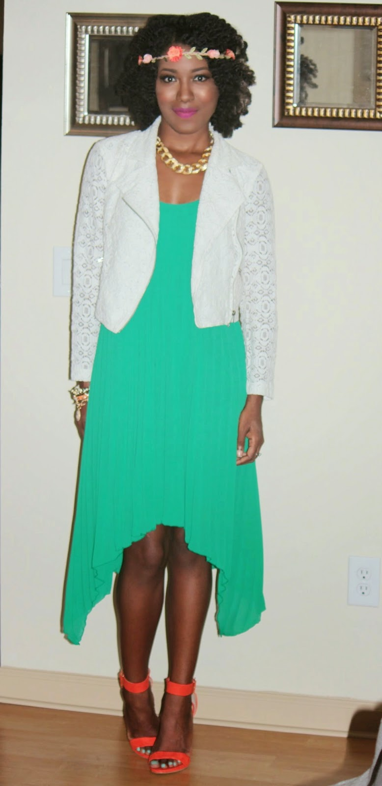 Simple Green Pleated Dress + Lace Moto Jacket OOTN | FASHIONTOLIVE