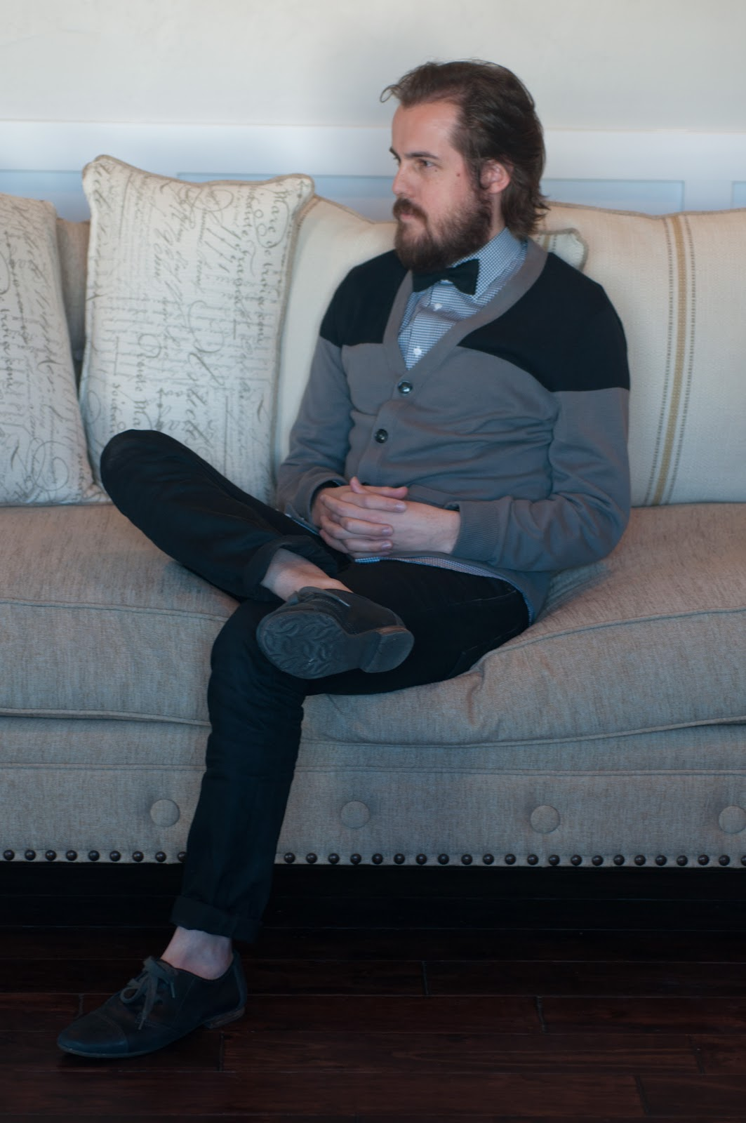 restoration hardware, chesterfield couch, couch, cardigan, mens wear, fashion, mens style, mens beard, beard, 2 tone cardigan, color block, buttons, nordstrom, nordstrom tailored shirt, mens shirt, nordstrom shirt, all saints, all saints mens jeans, all saints jeans, timex, timex watch, fashion, fashion blogger, mens unique fashion, black and white trend, black and white, beard, mens beard, bible beard, oxford, oxford shoes, nordstrom oxfords,