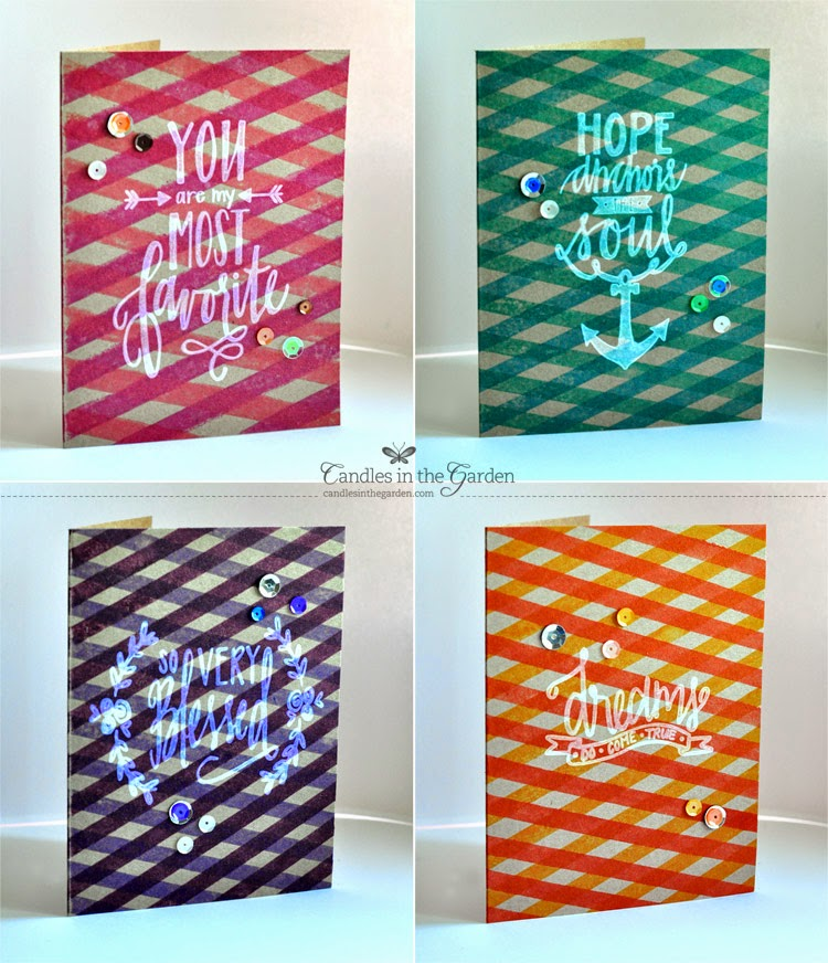 ©Candles in the Garden. Neat and Tangled DT Post. Calligraphic Card Set.