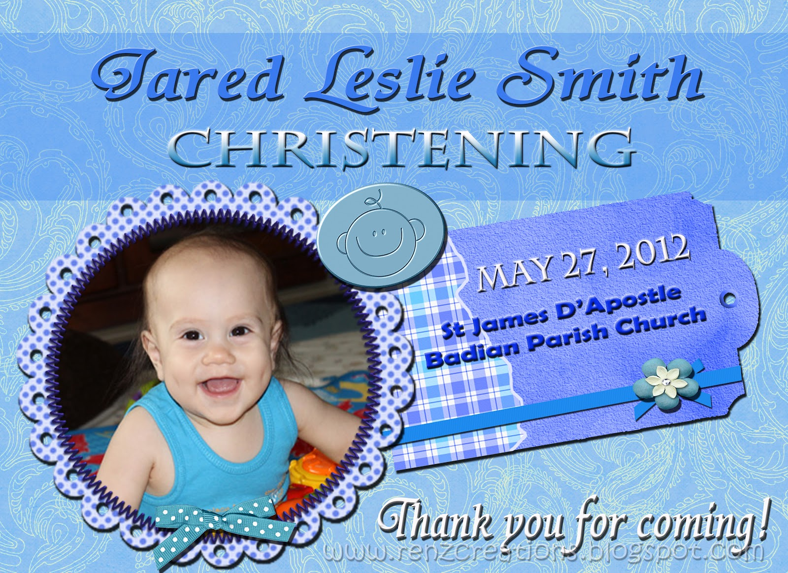 Renz Creations Invitations And Giveaways Jared Leslies Christening Giveaways