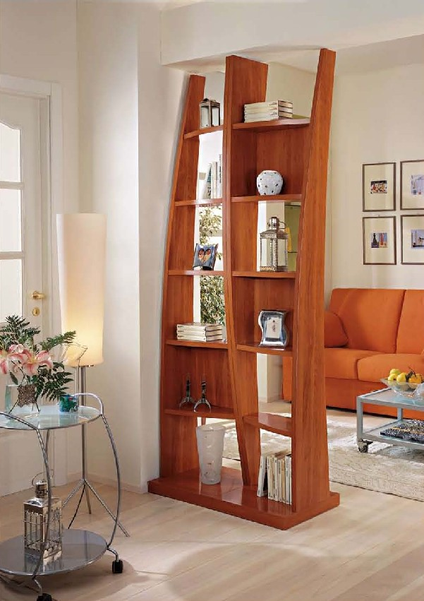 wooden shelves as room divider