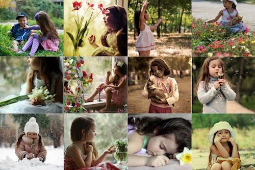 Tributo a la infancia VIII (fotos de niñas, flores y mascotas)