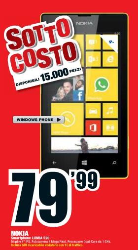 In offerta nel volantino Mediaworld a prezzo sottocosto il Nokia Lumia 520