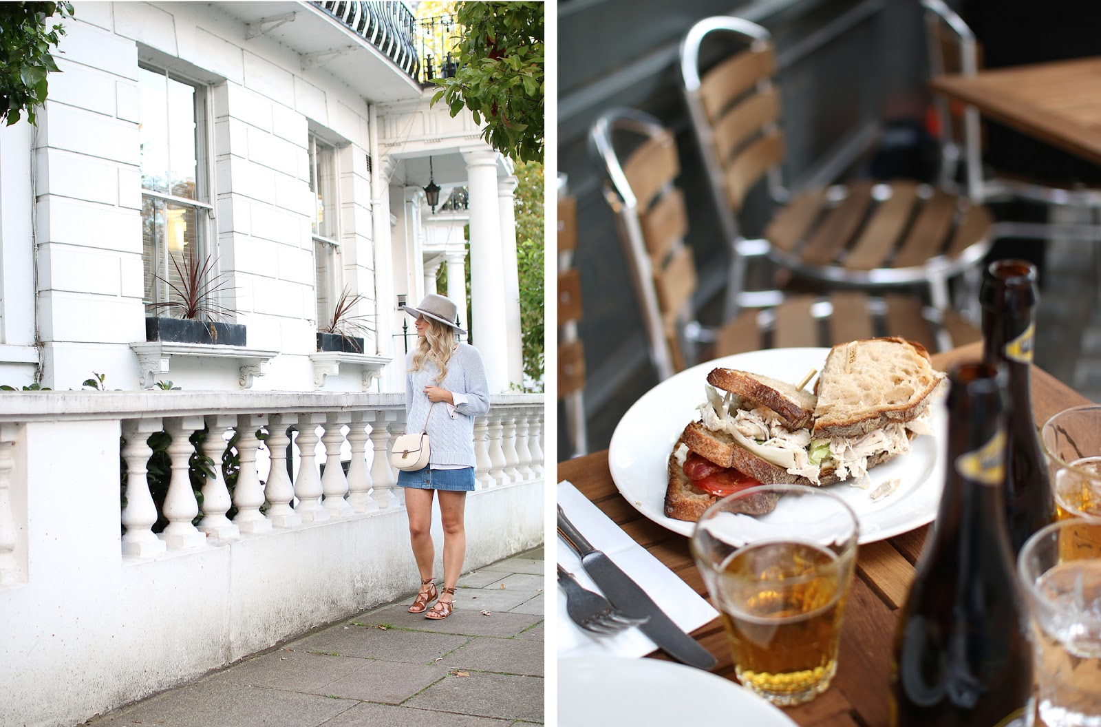a lunch date in soho, london, eating a delicious club sandwich outside with a beer