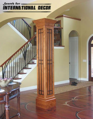 decorative columns, wood columns, interior columns