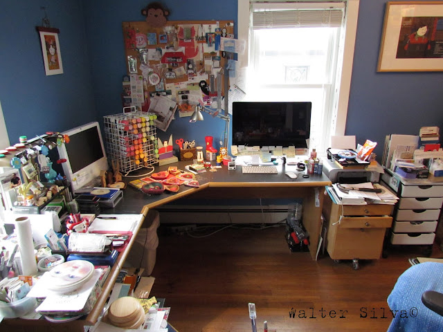 Walter Silva's Studio - A view of a typical day in the studio, my desk / table changes every day.