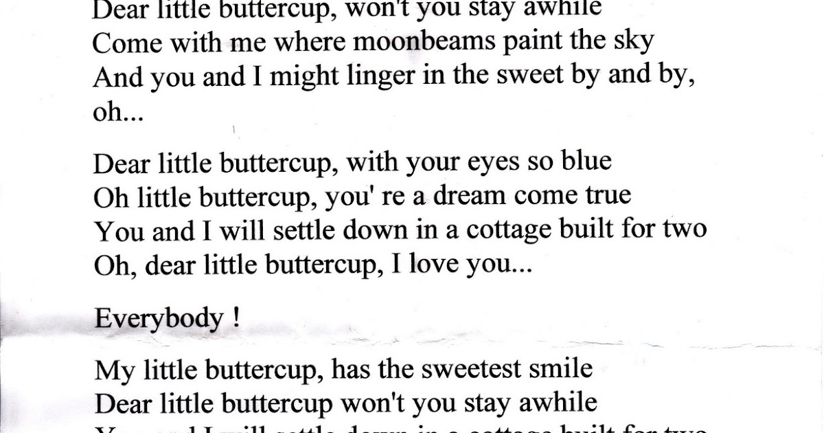 Lyric in sweet by and by lyrics : My Life Scanned: My Little Buttercup Lyrics and Liz and Matt's ...
