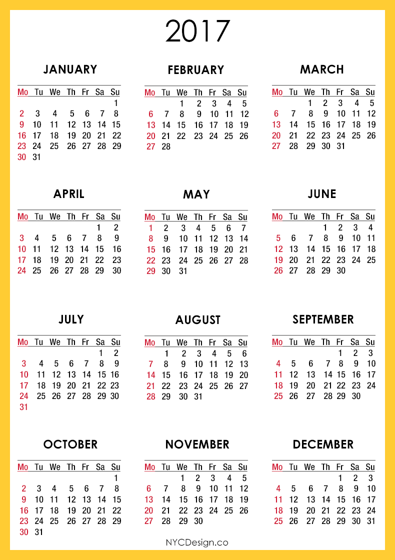... New York, NY: 2017 Calendar - Printable - Free - Orange, Yellow, White