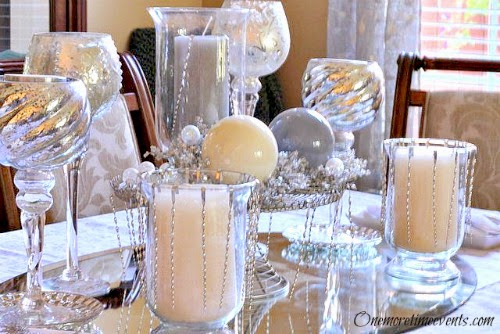 Christmas Center pieces with ornaments at One More Time Events.com