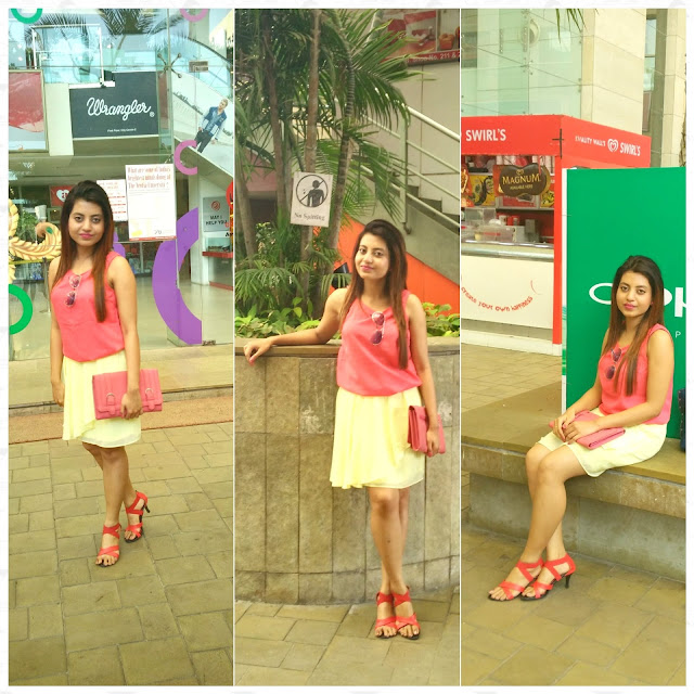 Outfit of the Day, Skater Skirt, BAck Cut Top, Red Stilettos, Pastels