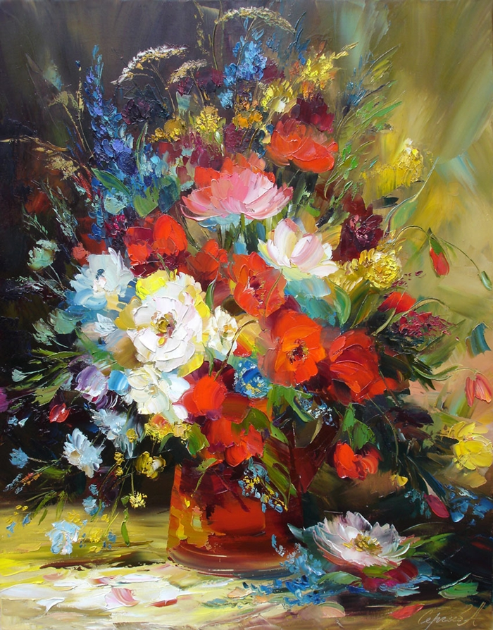 Alexander sergeev 1968 flowers russian painter hayang for Peinture contemporaine