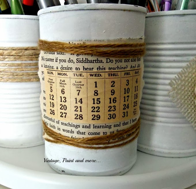 Tin Can Therapy - decorated tin can with book page and twine