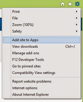 "Click the gear/settings icon, then click ""Add site to Apps""."