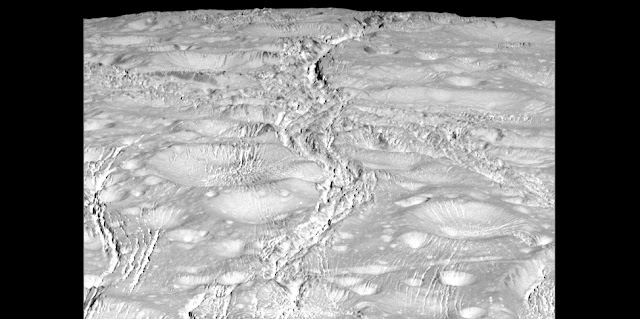 NASA's Cassini spacecraft zoomed by Saturn's icy moon Enceladus on Oct. 14, 2015, capturing this stunning image of the moon's north pole. Credit: NASA/JPL-Caltech/Space Science Institute