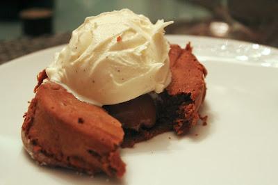 Molten chocolate espresso dulce de leche cakes