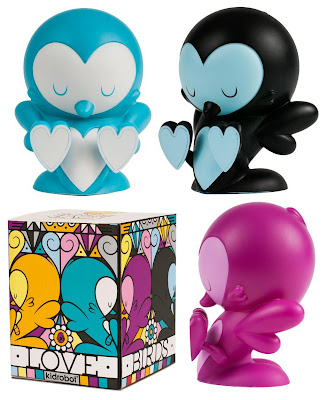 Kidrobot - Teal, Black & Purple Edition Lovebirds Vinyl Figures and Packaging by Kronk