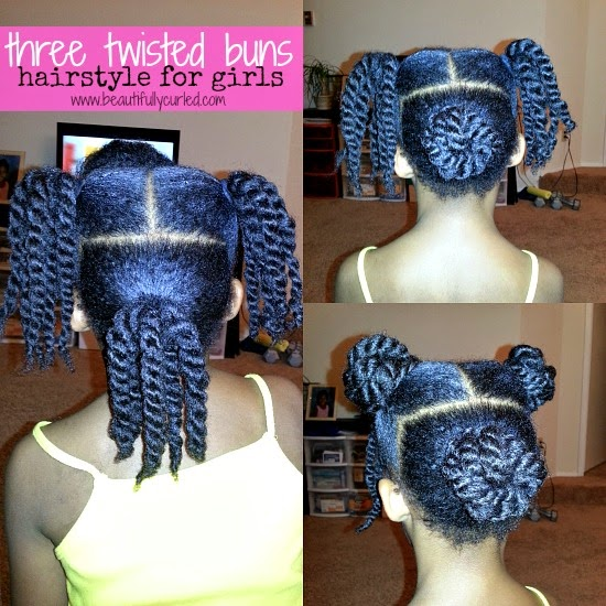 Beautifully Curled: three twisted buns hairstyle for girls ...